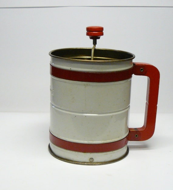 Vintage Red Handle Androck Flour Sifter With Wood Handle