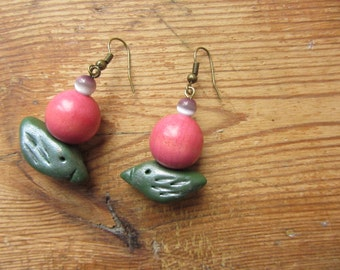 Green Bird Earrings, Boho Chic Dangle Earrings, Upcycled Jewelry, Rustic Clay Bird Earrings, Bird Jewelry, Pink Wooden Bead Earrings