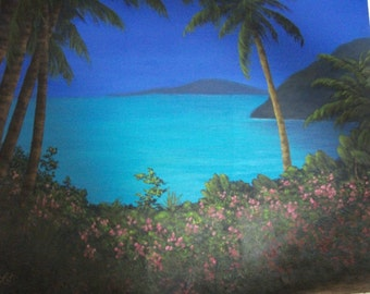 Tropical, Beach, Ocean, Mountains, Water, Sea, Flowers, Summer, Spring, Palm, Tree, Path, Original Landscape Oil Painting