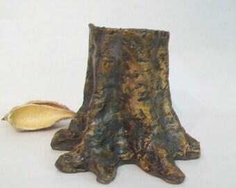 Tree Stump -  Vase -- Wheel Thrown, Hand Made -- Ready to Ship