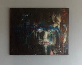 In Hiding 2 -original acrylic portrait painting on canvas