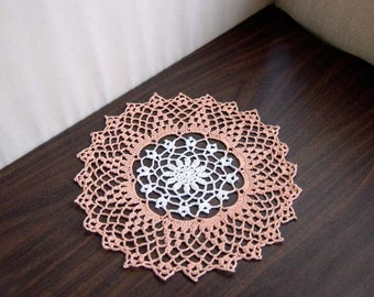 Spring Flower Crochet Lace Doily, Peach and White Table Decor, Cottage Chic, 11 Inch Doily, White Flower, Peach Lace, Mothers Day Gift