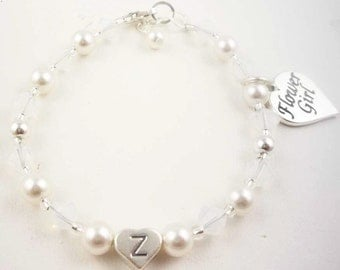 Flower Girl Charm Bracelet - Custom white , ivory cream and crystal with sterling silver initial personalized