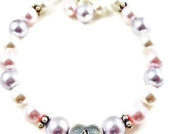 Flower Girl Bracelet - Lavender, Pink, Ivory swarovski pearls - or any colors