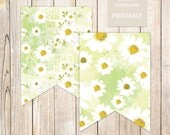 PRINTABLE . floral banner flags . daisy banner . camomile daisies . banner garland yellow . bridal shower . garden party . INSTANT DOWNLOAD
