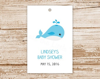 personalized baby whale tags . baby boy favor tags . gift tags . under the sea . thank you tags . baby shower tags . set of 12