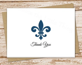 PRINTABLE fleur de lis thank you cards . folded note cards . fleur de lis notecards  . stationery . You Print