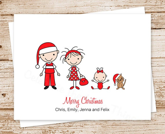 Personalized family christmas cards stick by for Unique family christmas cards