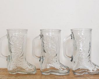 Vintage Cowboy Boot Glasses Set of 3 Lot of Drinking Glass Western Boots