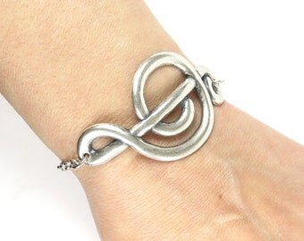 Large Music Note Bracelet- G Clef Bracelet- Sterling Silver Ox Finish- Large Music Note