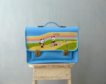 Vintage school bag. Leatherette briefcase. Blue children school bag