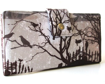 Handmade women's wallet - One grey night in the dark - Graveyard wallet - birds and moon - ID clear pocket - custom order - purse clutch