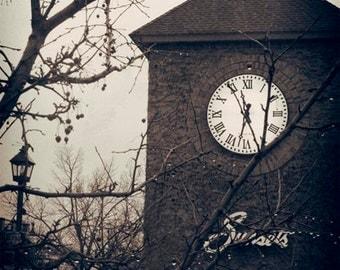NEW, Sunsets Wayzata MN, past, nostalgia, sepia, clock tower, aged photo, digital photo, office art, wall art, Minnesota, contemporary art