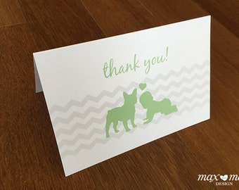 French Bulldog Baby, Thank You Card - 6x4in
