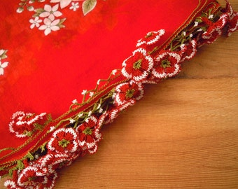 red scarf with flower trim, cotton, turkish oya, needle lace