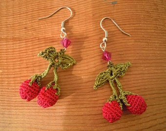 pink cherry earrings, crochet