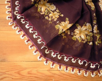 scarf with crochet trim, turkish oya, aubergine