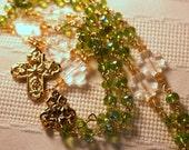 Green/Gold Trinity 4-way Cross Rosary