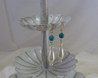 "Genuine Turquoise-""Roman Pearl"" Drop Earrings, Gold-Plated Earwires, Civil War Appropriate - Affordable Elegance"