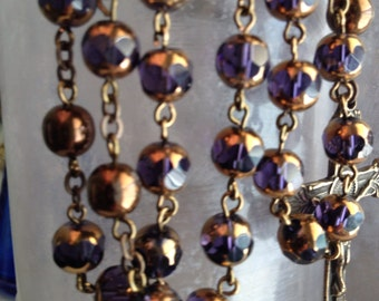 Miraculous Medal Vintage Reproduction Czech Glass Rosary