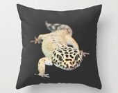 Leopard Gecko Photo Pillow Cover, Black Teenager Bedroom Accent, Amphibian, Salamander, Lizard, Batchelor Gift Idea, Cushion Case