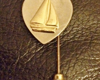 Sailboat Motif, Stick Pin, silver and gold color