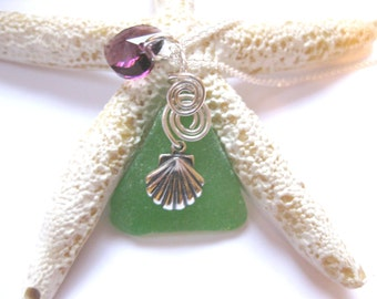 SS Shell pendant shell necklace sea glass pendant Sea glass jewelry wire wrapped