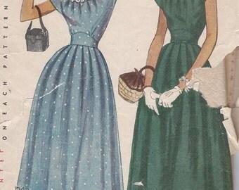 Vintage 1950's Misses' Dress Pattern, Scoop Neck, Cap Sleeves, Simplicity 2469