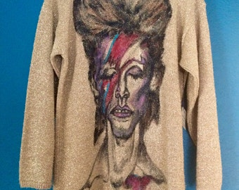 Bowie - Hand-Painted on Vintage Sparkle Sweater / Dress