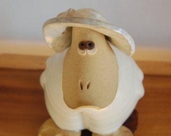 Whimsical, Bonnet wearing, Anthropomorphism Platypus Art Pottery Ceramic Sculpture Planter  ~ NW Artist