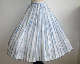 Vintage 50s Blue Cotton Ribbon Novelty Print Full Skirt Rockabilly Afternoon Picnic Skirt