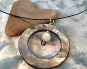 Silver Mother of Pearl and Moonstone Magnetic Choker