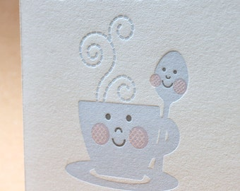 "Letterpress Card  - Cup&Spoon ""You are special"""