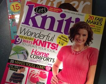 3 UK Knittings Magazines - Let's Kint - The Knitter - Knitting - more than 45 Spring/Summer Patterns