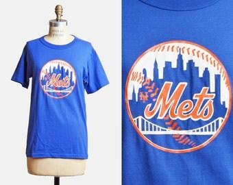 Vintage 90s New York Mets Shirt Baseball Shirt Graphic Tee / 1990s Sports Retro Tshirt 90s Vintage Blue T Shirt Sports Small s
