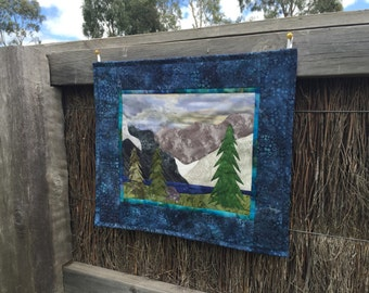 Rocks and Ice Mountain Lake Scene with Trees Green, Blue, and Grey Landscape Wall Hanging Quilt