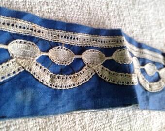Antique Lace Trim Fine Linen 19C French Bobbin Lace / Vintage Wedding Supplies Primitive Puritan RARE