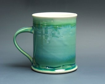 Pottery coffee mug, ceramic mug, stoneware tea cup jade green 14 oz 3514