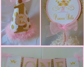 Pink and Gold  Princess 1st Birthday Smash Cake Party Package-Princess birthday-Princess High Chair banner-Princess Pink and Gold-Princess