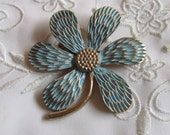Vintage Large Flower Brooch in Powder Blue and Gold Tone