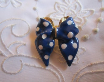 Vintage Gold Tone Small Blue and White Polka-Dotted Ribbon and Bow Brooch