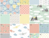 Crib Bedding Neutral Adventure Awaits (Modern Custom Crib) Nursery, Mint, Blue, Yellow, Coral Travel Mountains Hot Air Balloons Explorer