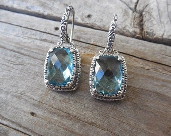 Gorgeous blue topaz earring handmade in sterling silver