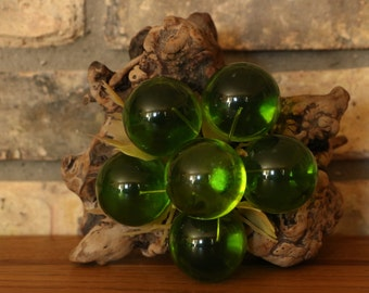 Green Lucite Grapes - Vintage Lucite Grape Cluster on Driftwood Stem
