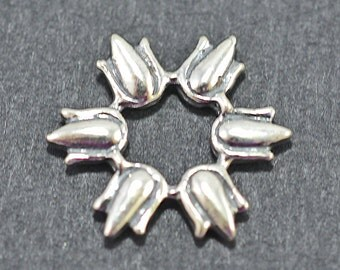 Sterling silver tulip burst bead frame, 17mm - #1956
