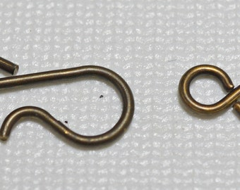 Brass hook and eye clasp set - #2040
