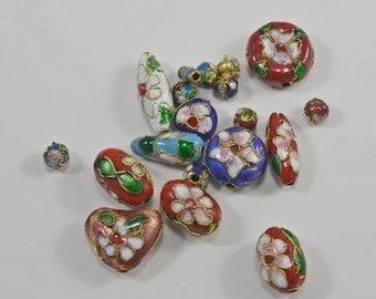Cloisonne, gold plated, mixed sizes, 6-15mm - #1585