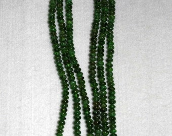 Chrome Diopside, Chrome Diopside Bead, Smooth Rondelle, Semi Precious, Gemstone Rondelle, Natural Stone, Green Rondelle, Half Strand, 6mm