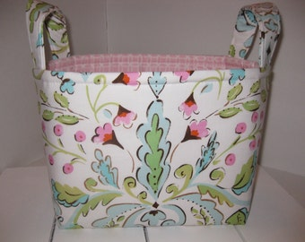 Pink Blue Green Flowers Alexander Henry Love Birds Fabric Organizer Bin / Basket / Small Diaper Caddy