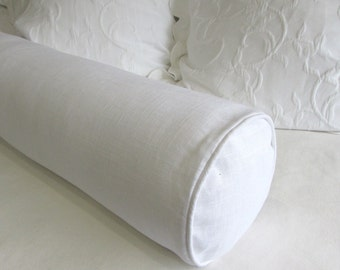 WHITE linen daybed bolster Pillow 8x30